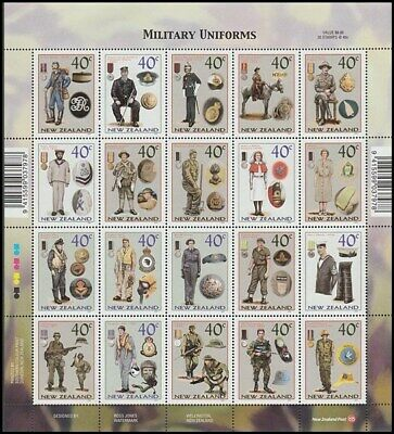 New Zealand 2003 Military Uniforms Sheetlet Of 20 Uhm