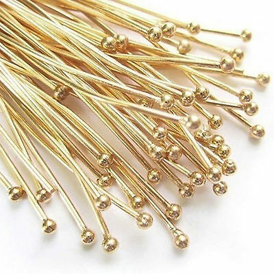 100  Gold Plated BALL Headpins 30 x 0.7mm Head Pins