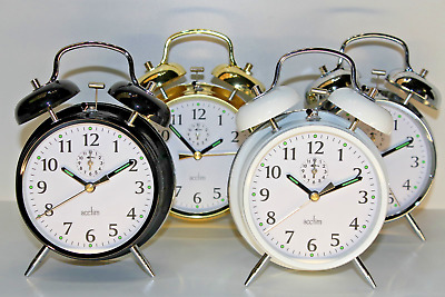 Acctim Saxon Retro Loud Double Bell Mechanical Keyword Traditional Alarm Clock
