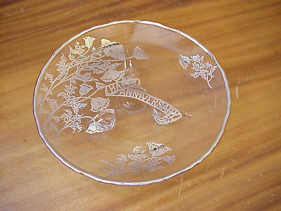 Sterling Silver Overlay Happy Anniversary Footed Tray