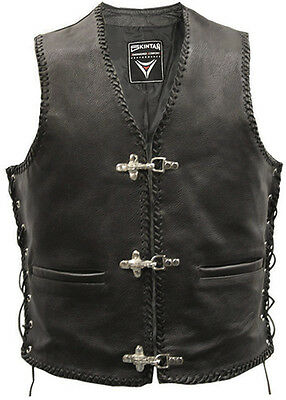 Full Leather Motorcycle Waistcoat Biker Vest Fish Hook Buckle  Braided Cut Off