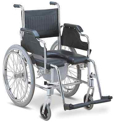 3-in-1 Commode Wheelchair Bedside Toilet & Shower Chair Rust Free Aluminum Frame