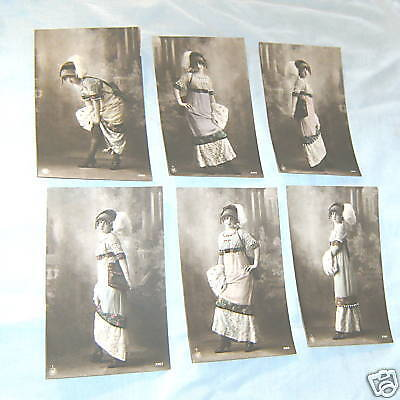 Six Sent 1912 Postcards - Young Lady Fashion