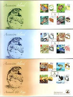 Ascension 2008 Animals & EGGS with Baby TURTLE on 3 FDC