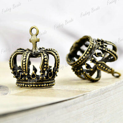 5pcs fashion Crown Charms Antique Brass bronze TS7419