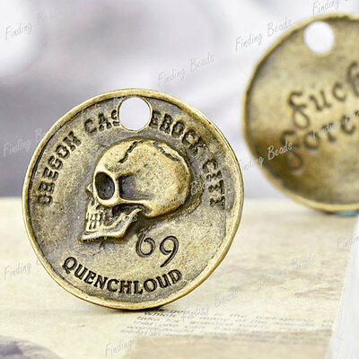 5pcs Skull fashion charms vintage Antique Brass TS7421