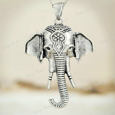 4pcs Elephant Pendants Antique White Silver TS7429-1