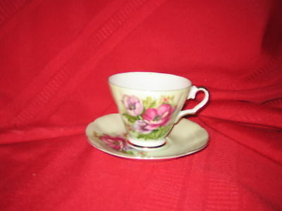 Lefton China tea cup & saucer lavender floral on green