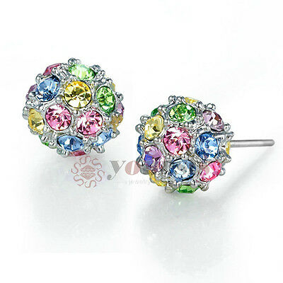 Unique 18K White Gold Plated Use Multi Austria Crystal Disco Ball Stud Earrings