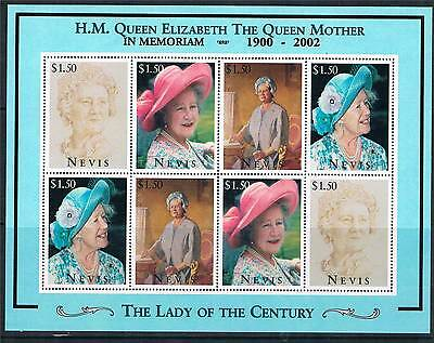 Nevis 2002 Queen Mother Commem.sheet SG923ab MNH
