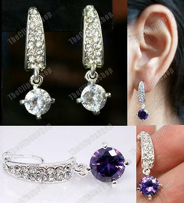 CLIP ON Cubic Zirconia DROP EARRINGS rhinestone crystal CZ