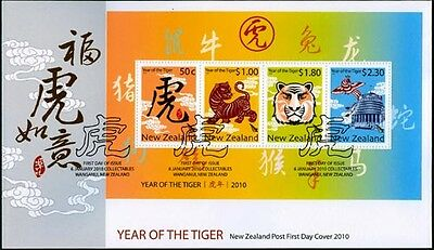 NEW ZEALAND 2010 YEAR OF TIGER M/S FDC CHINESE NEW YR