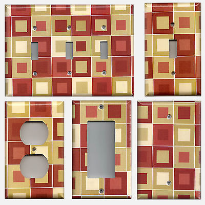 Red Burgundy Tan Cream Beige Squares/Blocks Switchplates & Outlet Covers