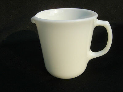 Solid White Mod D handle  vintage Pyrex  pitcher tall creamer Corelle Corning