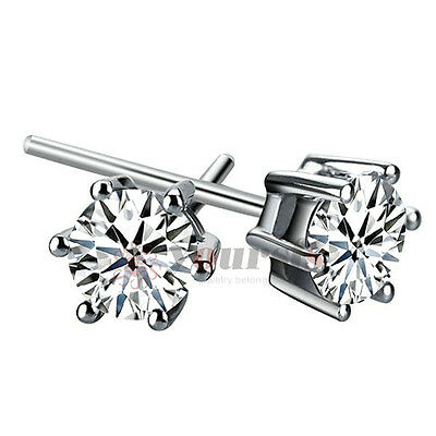 Unique Ear Studs 18K White Gold Plated Swarovski Crystal 1CT Rhinestone Earrings