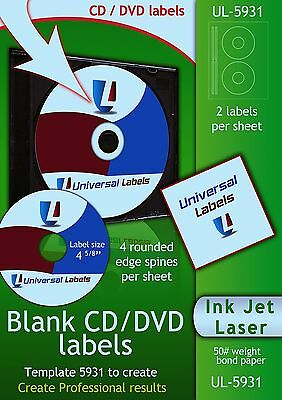 500 CD or DVD labels - 5931 & 8931 Label Template To Create - 250 Sheets