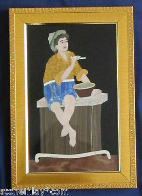 Pietra Dura Marble Inlay Art Deco Micro Mosaic Painting Replica of Antique Art