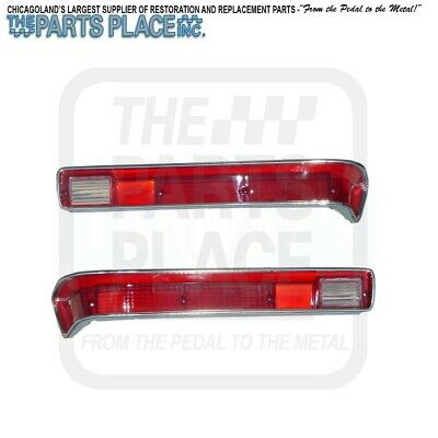 1970 & 1972 GTO Tail Lamp / Light Lens With Correct Stainless Steel - Pair
