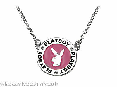 Wholesale Joblot of 10 Playboy Enamel Pendent Necklace Platinum Plated Pink