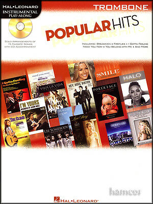 Popular Hits Instrumental Play-Along Trombone Pop Sheet Music Book with CD