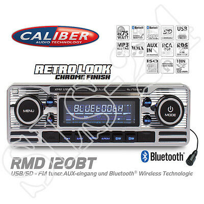Caliber RMD120BT RDS Retro Look Radio mit Bluetooth MP3 USB SD Autoradio ohne CD