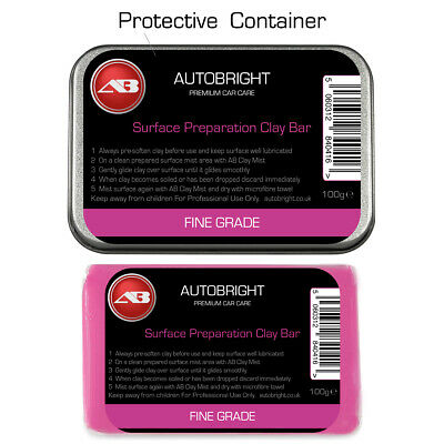 Autobright Car Cleaning surface perfection Fine Detailing  Clay 100g Metal Tin
