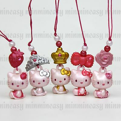 5pcs Sanrio Fancy Bandai Hello Kitty Rose Figure Cell Mobile Phone Charm Strap