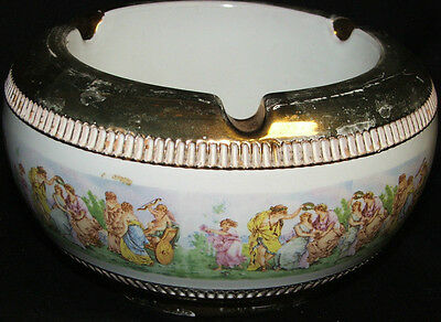 """Vintage Heavy Deep Cigar Cigarette Ashtray Made in Italy 3 1/2"""" T X 6 1/2"""" W"""