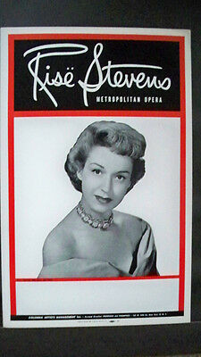 RISE STEVENS Window Card COLUMBIA ARTISTS MANAGEMENT Tour 1950s