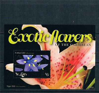 St Kitts 2011 Exotic Flowers 1v MS MNH