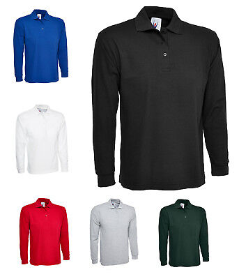Mens Long Sleeve Pique Polo T Shirt Size XS to 4XL - WORK CASUAL SPORTS LEISURE