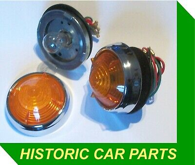 2 AMBER Front & Rear INDICATORS LIGHTS for BRISTOL '406' 1958-60 as Lucas  53626