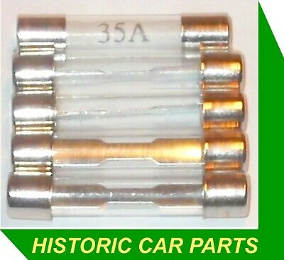 5 x 35 amp Electrical Glass Fuses for 1950-70s classic cars