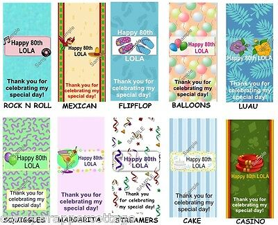 18 Personalized Birthday Labels Wrappers for hershey mini minature candy