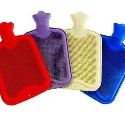 1 x LARGE HOT WATER BOTTLE PINK RED OR BLUE RIBBED RUBBER WARMING WARMER 2L 6075