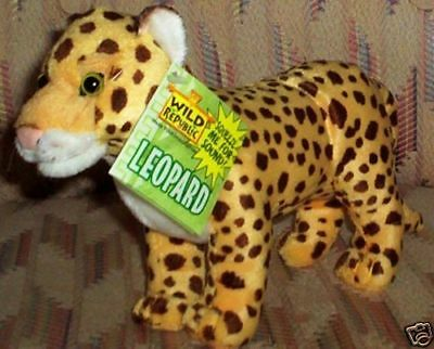 "Wild Republic Leopard Sound Roar Nwt Jungle Free 3"" Cardinal W/3 Birds"