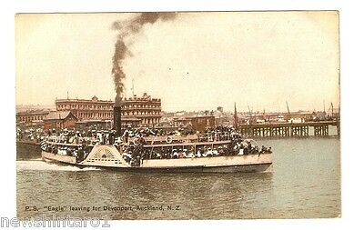 Shipping Postcard - Ss Eagle Leaving For Devonport New Zealand, About 1905