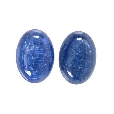 g0865 Two 14mm kyanite oval flatback cab cabochon