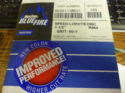 """Lot Of 100 Norton Norzon Bluefire Speed-Lok Ts Disc 1.5"""" 60-Y Grit R884"""