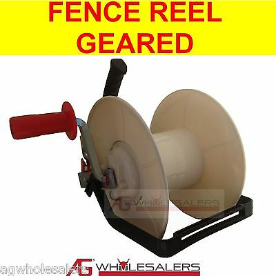 Wind Up Geared Electric Fence Reel For Wire & Poly Wire / Tape - Strip Grazing