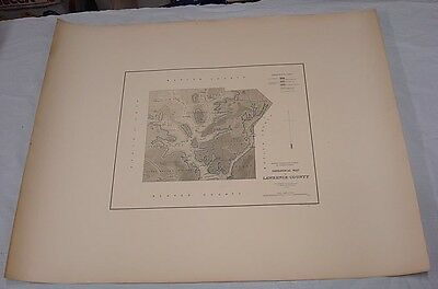 """1878 Large Map GEOLOGY OF LAWRENCE CO, PA/2nd PA Geological Survey/26x32"""""""