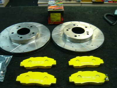 Honda Integra Type R Dc2 Drilled Grooved Brake Disc & Yellow Pads