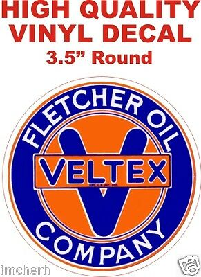 Vintage Style Fletcher Oil Company Veltex Texaco Gas Pump Decal Nice & Glossy