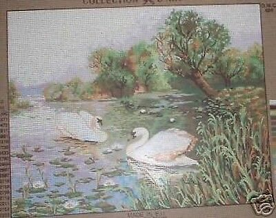 "Swans On A Country Pond Tapestry Needlepoint Canvas - 19.5"" x 15.5"""