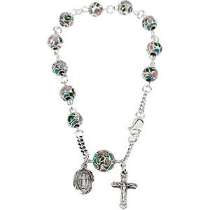 """NEW Cloisonne ROSARY Bracelet Sterling Silver Religious Jewelry 7"""" Inch"""