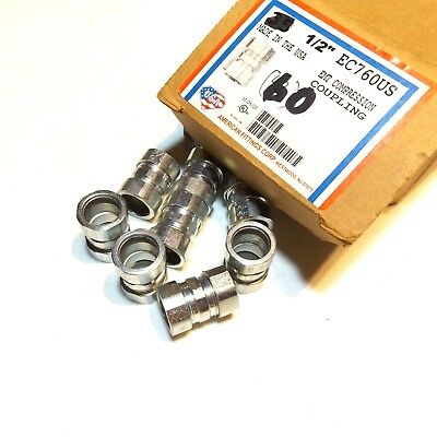 """Box Of 30 American Fittings Ec760Us ½"""" Emt Compression Coupling"""