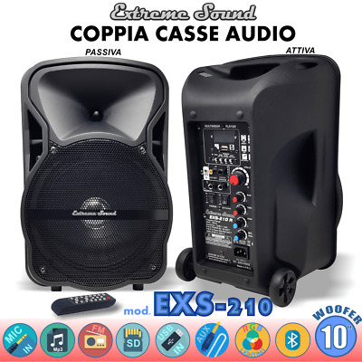 COPPIA CASSE AMPLIFICATE KARAOKE 1300W 2 microfoni 1 Cavo PC+ Software MIX-3-KIT
