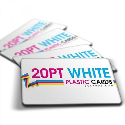 1000 Full Color Printed 2 Sides WHITE PLASTIC Business Cards - Rounded Corners!