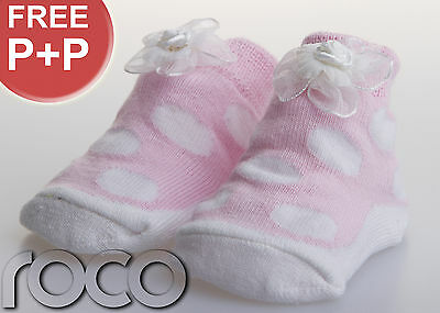 Baby Girl Pink+White Gift Flower Spotted Soft Cotton Design Socks  Shoes