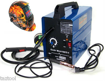 Flux Wire Welder Machine Mig 100 And Flame Auto Darkening Helmet Welder Mask